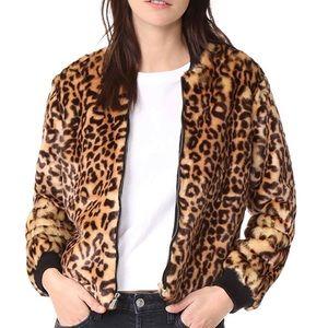 Splendid leopard faux fur bomber